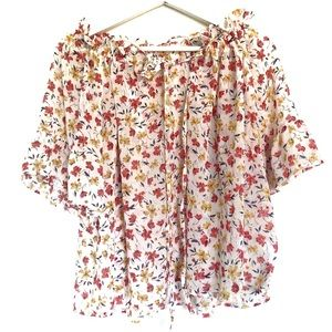 Women's S Floral Print Off the Shoulder Blouse Tee